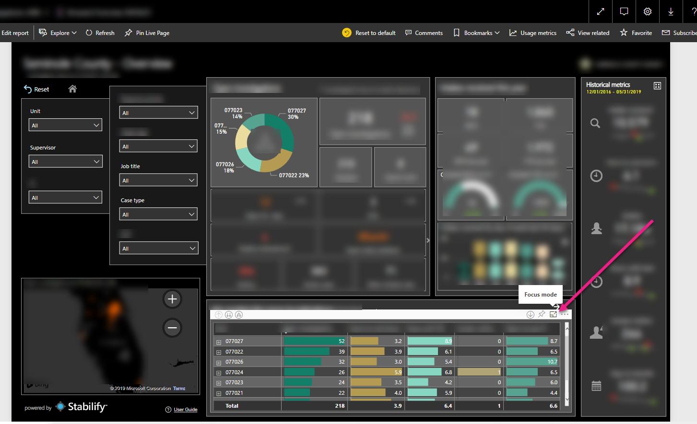 Select Focus Mode from Matrix Visual